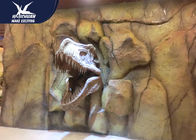 Theme Park Dinosaur Fossil Replicas , 1.5M Mounted T rex Dinosaur Head On Wall For Indoor Exhibition