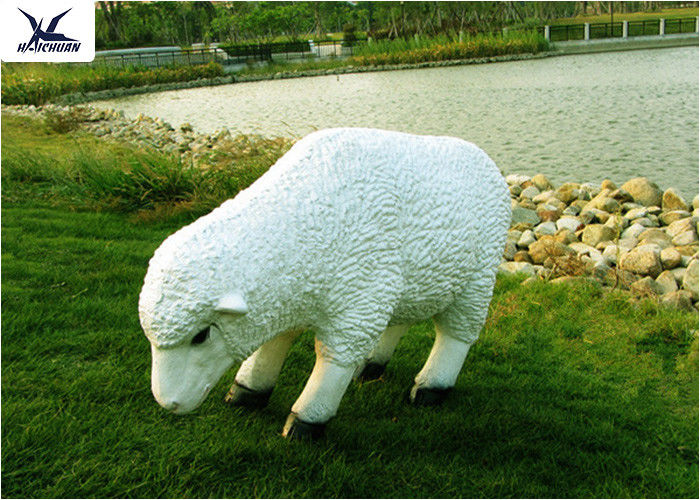 Outdoor High Simulation Sheep Fiberglass Statues For Amusement Park Decoration